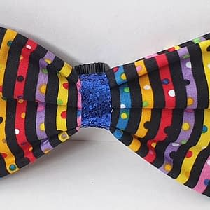 Dotty Stripes Dog Bow Tie