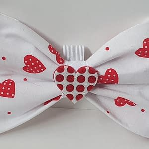 Red Dot Love Heart Dog Bow Tie
